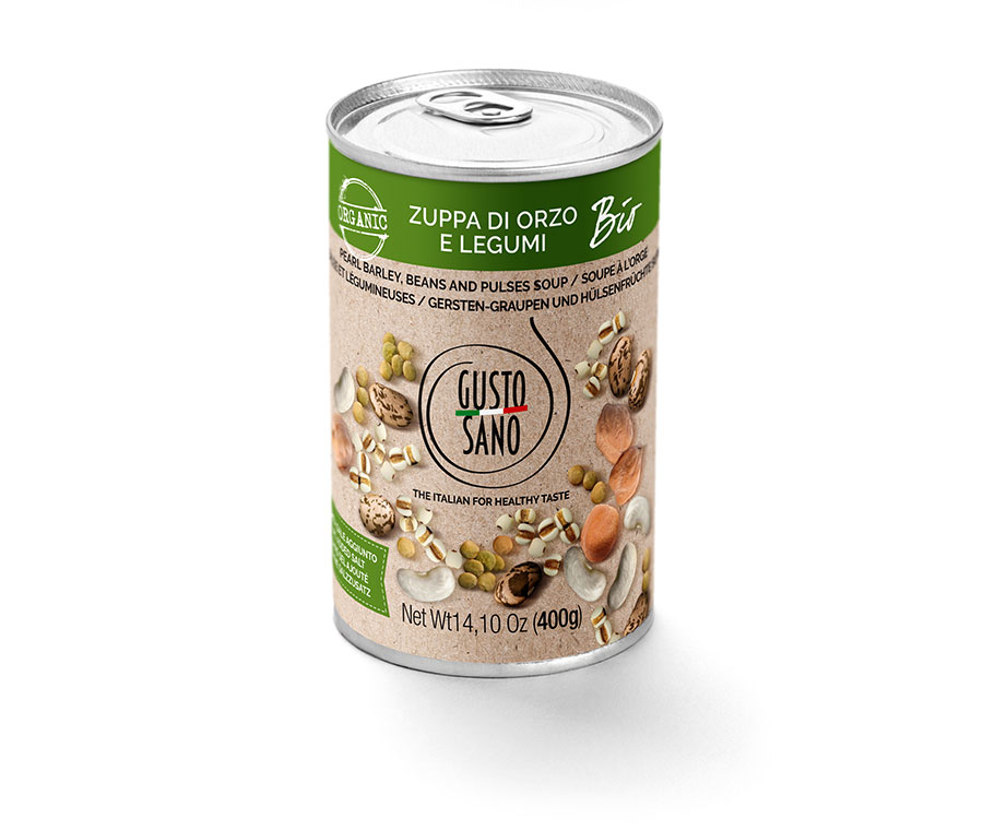 Organic pearl barley, beans and pulses soup